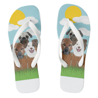 Illustration lucky dogs on a wooden fence flip flops