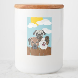 Illustration lucky dogs on a wooden fence food label