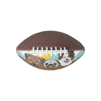 Illustration lucky dogs on a wooden fence football