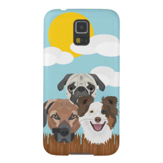 Illustration lucky dogs on a wooden fence galaxy s5 covers