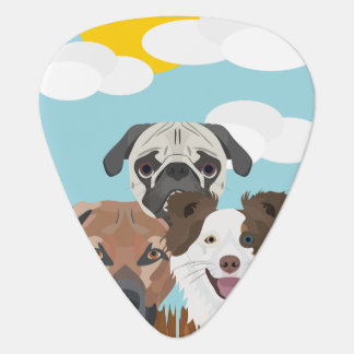 Illustration lucky dogs on a wooden fence guitar pick