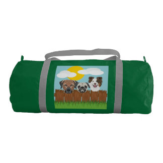 Illustration lucky dogs on a wooden fence gym bag
