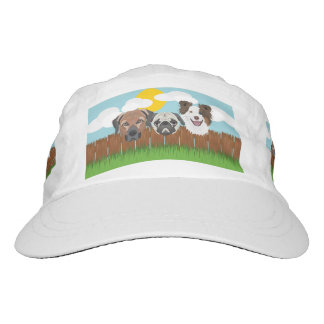 Illustration lucky dogs on a wooden fence hat