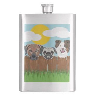Illustration lucky dogs on a wooden fence hip flask