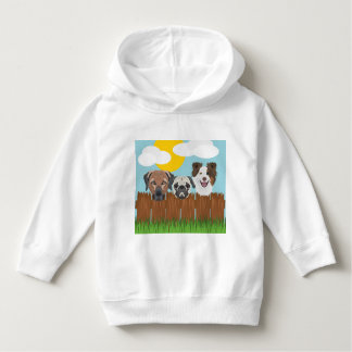 Illustration lucky dogs on a wooden fence hoodie