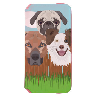 Illustration lucky dogs on a wooden fence incipio watson™ iPhone 6 wallet case