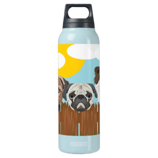 Illustration lucky dogs on a wooden fence insulated water bottle