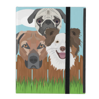 Illustration lucky dogs on a wooden fence iPad folio case