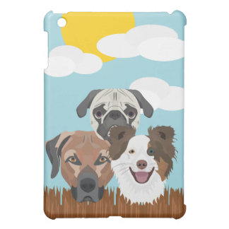 Illustration lucky dogs on a wooden fence iPad mini cover