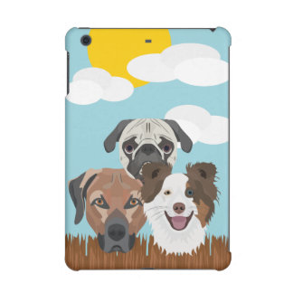 Illustration lucky dogs on a wooden fence iPad mini retina cases