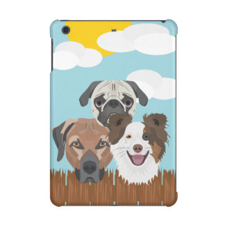 Illustration lucky dogs on a wooden fence iPad mini retina cover