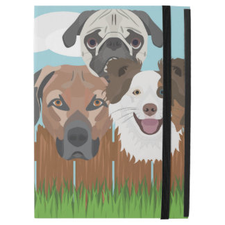 "Illustration lucky dogs on a wooden fence iPad pro 12.9"" case"