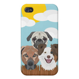 Illustration lucky dogs on a wooden fence iPhone 4/4S cases