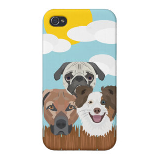 Illustration lucky dogs on a wooden fence iPhone 4/4S covers
