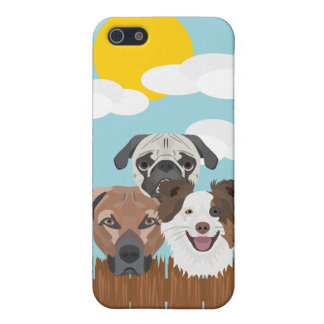 Illustration lucky dogs on a wooden fence iPhone 5/5S cover