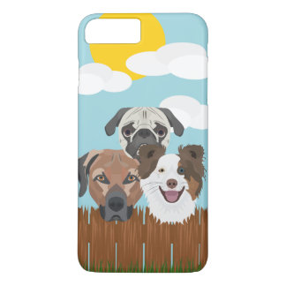 Illustration lucky dogs on a wooden fence iPhone 8 plus/7 plus case