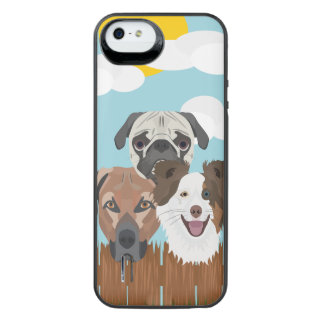 Illustration lucky dogs on a wooden fence iPhone SE/5/5s battery case