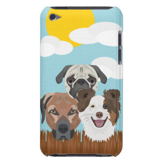 Illustration lucky dogs on a wooden fence iPod touch cover