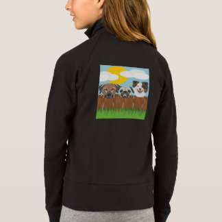 Illustration lucky dogs on a wooden fence jacket
