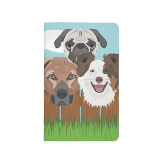 Illustration lucky dogs on a wooden fence journal