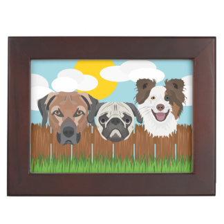 Illustration lucky dogs on a wooden fence keepsake box