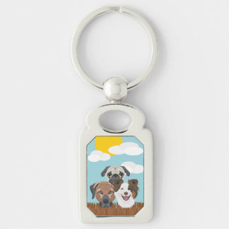 Illustration lucky dogs on a wooden fence keychain