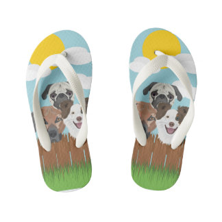 Illustration lucky dogs on a wooden fence kid's flip flops