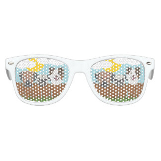 Illustration lucky dogs on a wooden fence kids sunglasses