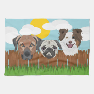 Illustration lucky dogs on a wooden fence kitchen towel