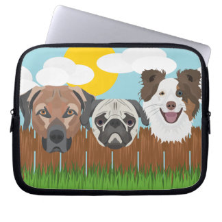 Illustration lucky dogs on a wooden fence laptop sleeve