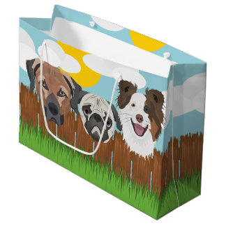 Illustration lucky dogs on a wooden fence large gift bag