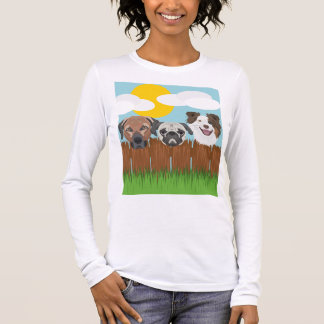 Illustration lucky dogs on a wooden fence long sleeve T-Shirt