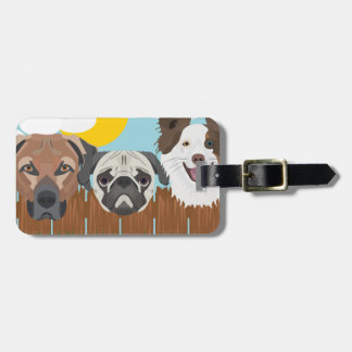 Illustration lucky dogs on a wooden fence luggage tag
