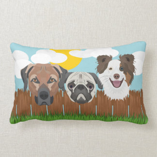 Illustration lucky dogs on a wooden fence lumbar pillow