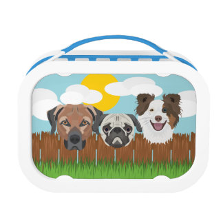 Illustration lucky dogs on a wooden fence lunch box