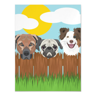 Illustration lucky dogs on a wooden fence magnetic card