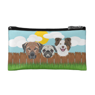 Illustration lucky dogs on a wooden fence makeup bag