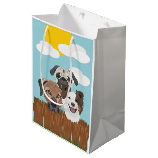 Illustration lucky dogs on a wooden fence medium gift bag