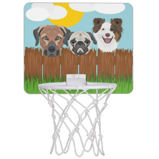 Illustration lucky dogs on a wooden fence mini basketball hoop