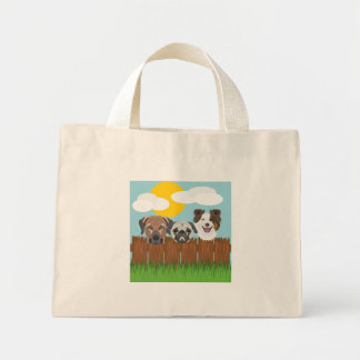 Illustration lucky dogs on a wooden fence mini tote bag