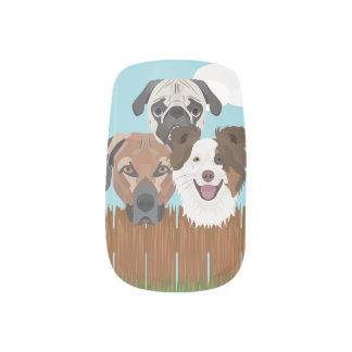 Illustration lucky dogs on a wooden fence minx nail art