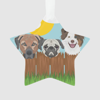 Illustration lucky dogs on a wooden fence ornament