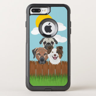 Illustration lucky dogs on a wooden fence OtterBox commuter iPhone 8 plus/7 plus case