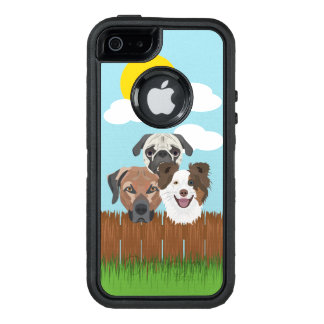 Illustration lucky dogs on a wooden fence OtterBox defender iPhone case