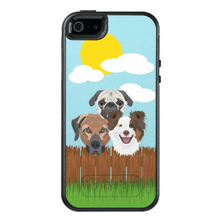 Illustration lucky dogs on a wooden fence OtterBox iPhone 5/5s/SE case