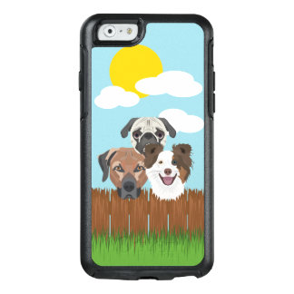 Illustration lucky dogs on a wooden fence OtterBox iPhone 6/6s case