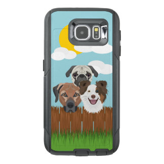 Illustration lucky dogs on a wooden fence OtterBox samsung galaxy s6 case