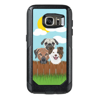 Illustration lucky dogs on a wooden fence OtterBox samsung galaxy s7 case