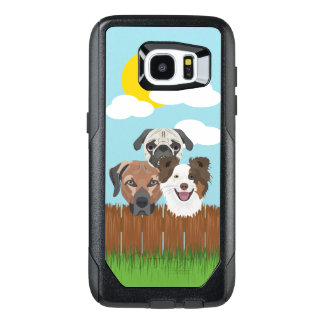 Illustration lucky dogs on a wooden fence OtterBox samsung galaxy s7 edge case