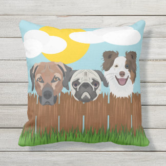 Illustration lucky dogs on a wooden fence outdoor pillow